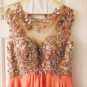 Coral Embellished Prom Dress